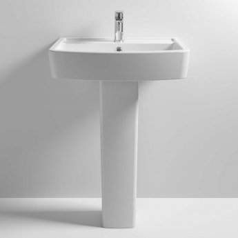 Nuie Bliss Basin and Full Pedestal 600mm Wide 1 Tap Hole