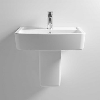 Nuie Bliss Basin and Semi Pedestal 520mm Wide 1 Tap Hole