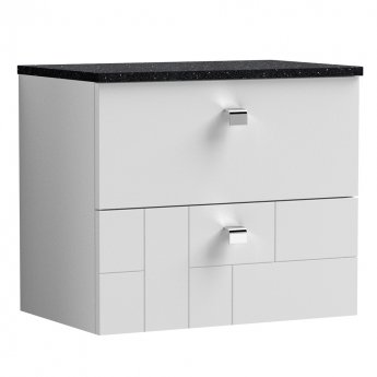 Nuie Blocks Wall Hung 2-Drawer Vanity Unit with Sparkling Black Worktop 600mm Wide - Satin White