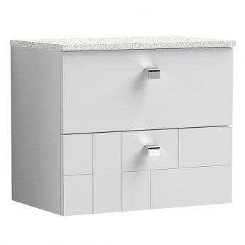 Nuie Blocks Wall Hung 2-Drawer Vanity Unit with Sparkling White Worktop 600mm Wide - Satin White