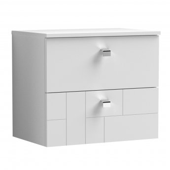 Nuie Blocks Wall Hung 2-Drawer Vanity Unit with Worktop 600mm Wide - Satin White