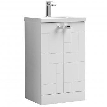 Nuie Blocks Floor Standing 2-Door Vanity Unit with Basin-1 500mm Wide - Satin White