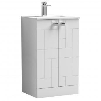 Nuie Blocks Floor Standing 2-Door Vanity Unit with Basin-2 500mm Wide - Satin White