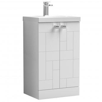 Nuie Blocks Floor Standing 2-Door Vanity Unit with Basin-3 500mm Wide - Satin White
