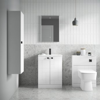 Nuie Blocks Back to Wall WC Unit 600mm Wide - Satin White