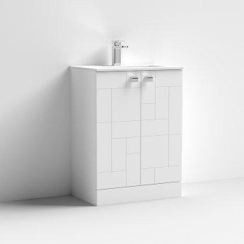 Nuie Blocks Floor Standing 2-Door Vanity Unit with Basin-2 600mm Wide - Satin White