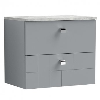 Nuie Blocks Wall Hung 2-Drawer Vanity Unit with Grey Worktop 600mm Wide - Satin Grey