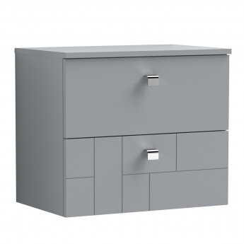 Nuie Blocks Wall Hung 2-Drawer Vanity Unit with Worktop 600mm Wide - Satin Grey