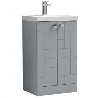 Nuie Blocks Floor Standing 2-Door Vanity Unit with Basin-3 500mm Wide - Satin Grey