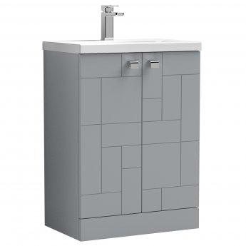 Nuie Blocks Floor Standing 2-Door Vanity Unit with Basin-1 600mm Wide - Satin Grey