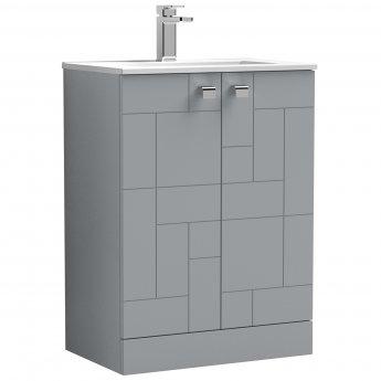 Nuie Blocks Floor Standing 2-Door Vanity Unit with Basin-2 600mm Wide - Satin Grey