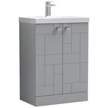 Nuie Blocks Floor Standing 2-Door Vanity Unit with Basin-3 600mm Wide - Satin Grey