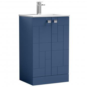 Nuie Blocks Floor Standing 2-Door Vanity Unit with Basin-2 500mm Wide - Satin Blue