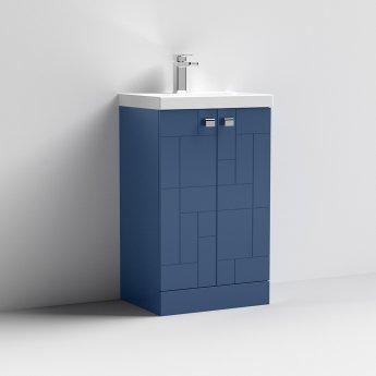 Nuie Blocks Floor Standing 2-Door Vanity Unit with Basin-3 500mm Wide - Satin Blue