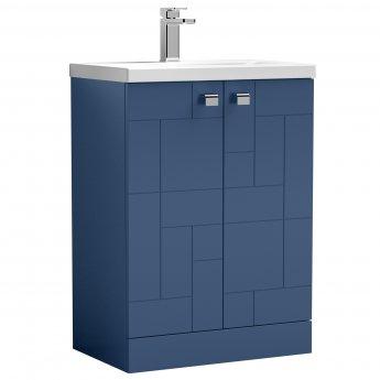 Nuie Blocks Floor Standing 2-Door Vanity Unit with Basin-1 600mm Wide - Satin Blue