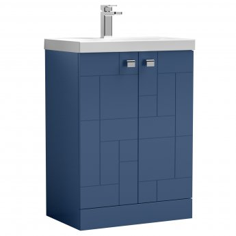 Nuie Blocks Floor Standing 2-Door Vanity Unit with Basin-3 600mm Wide - Satin Blue