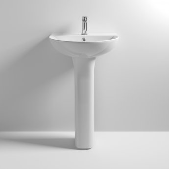 Nuie Freya Basin and Full Pedestal 550mm Wide - 1 Tap Hole