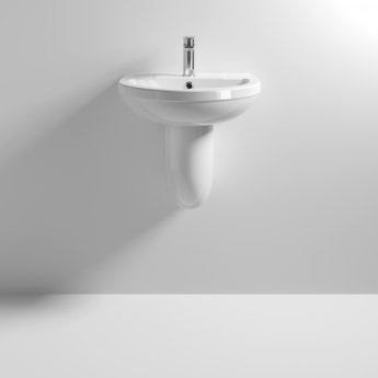 Nuie Harmony Basin and Semi Pedestal 500mm Wide - 1 Tap Hole