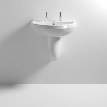 Nuie Ivo Basin and Semi Pedestal 555mm Wide - 2 Tap Hole