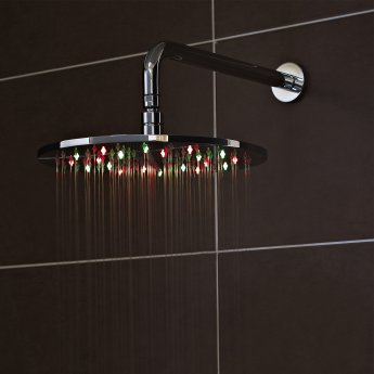 Nuie LED Round Fixed Shower Head, 300mm Diameter, Chrome