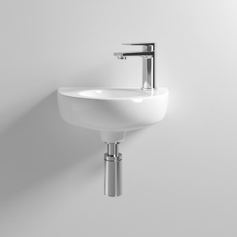 Nuie Melbourne Rounded Wall Hung Cloakroom Basin 350mm Wide 1 Tap Hole