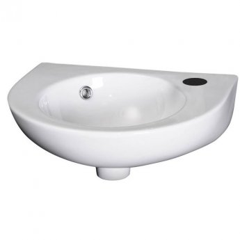 Nuie Melbourne Rounded Wall Hung Cloakroom Basin 430mm Wide 1 Tap Hole