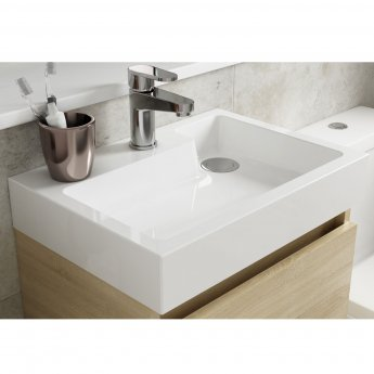Nuie Merit Wall Hung 1-Door Vanity Unit with L-Shaped Basin 500mm - Stone Grey