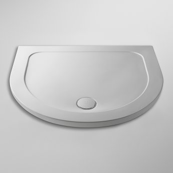 Nuie Pearlstone Bespoke D-Shaped Shower Tray 1050mm x 950mm - White