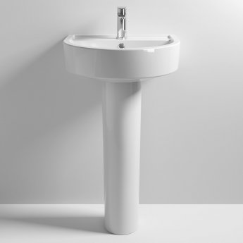 Nuie Provost Basin and Full Pedestal 520mm Wide - 1 Tap Hole
