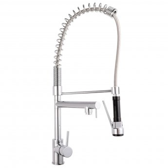 Nuie Tall Side Action Kitchen Sink Tap Pull Out Rinser - Chrome