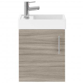 Nuie Vault Wall Hung 1-Door Vanity Unit with Basin 400mm Wide - Driftwood