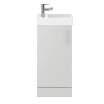Nuie Vault Floor Standing 1-Door Vanity Unit with Basin 400mm Wide - Gloss Grey Mist