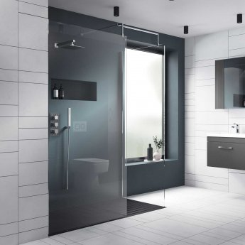 Nuie Wet Room Screen 1850mm x 700mm Wide with Support Bar - 8mm Glass