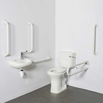 Nymas Close Coupled Disabled Toilet Doc M Pack White - White Grab Rails