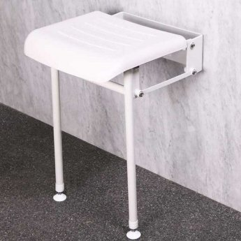 Nymas Compact Hinged Padded Shower Seat with Legs - White