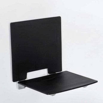 Nymas Contemporary Slimline Shower seat with Back Rest - Black