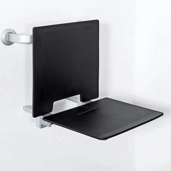 Nymas Contemporary Removable Slimline Shower Seat with Back Rest - Black