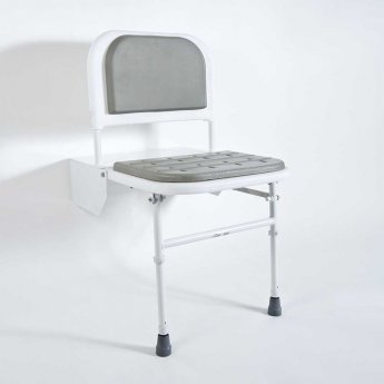 Nymas Doc M Padded Shower Seat with White Frame - Grey