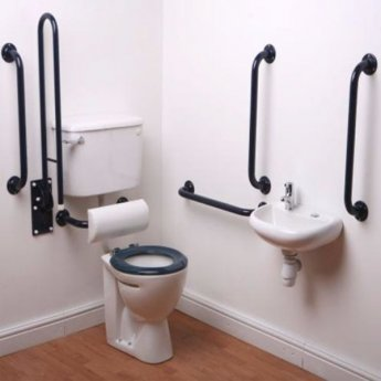 Nymas Low Level Disabled Toilet Doc M Pack White - Dark Blue Grab Rails