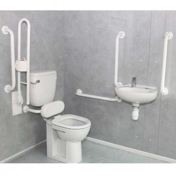 Nymas Low Level Disabled Toilet Doc M Pack White - White Grab Rails