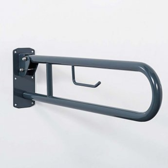 Nymas Lift and Lock Hinged Grab Rail with Roll Holder 800mm Length - Dark Grey