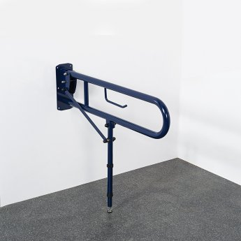 Nymas Lift and Lock Hinged Grab Rail with Toilet Roll Holder and Leg 800mm Length - Dark Blue