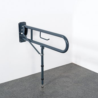 Nymas Lift and Lock Hinged Grab Rail with Toilet Roll Holder and Leg 800mm Length - Dark Grey