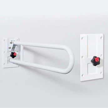 Nymas Stainless Steel Removable Hinged Grab Rail 800mm Length - White