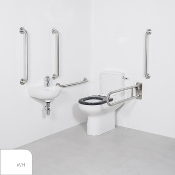 Nymas Nyma CARE Close Coupled Doc M Pack Left Handed White - 4 x White Grab Rails