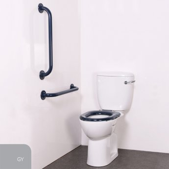Nymas Nyma PRO Close Coupled Toilet Doc M Pack White - 2 x Grey Grab Rails
