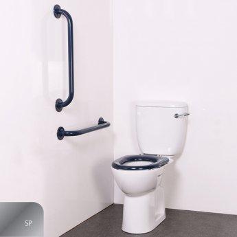 Nymas Nyma PRO Close Coupled Toilet Doc M Pack White - 2 x Polished Grab Rails