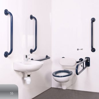 Nymas Nyma PRO Wall Hung Doc M Pack Concealed Fixings White - 5 x Satin Grab Rails