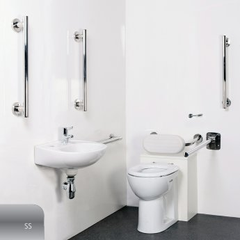 Nymas Nyma STYLE Luxury Close Coupled Doc M Pack and Ring Seat White - 5 x Satin Grab Rails