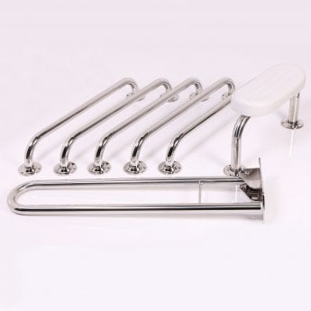 Nymas NymaPRO Concealed Fixing Grab Rails with Back Rest for Doc M Toilet Pack - Polished
